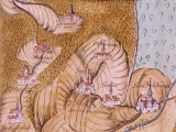 Old Parish Church of Oberelsbach on a coloured sketch with the villages Unterelsbach, Oberelsbach, Weisbach and Ginolfs at July 19, 1586