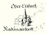 Church in Oberelsbach, built by prince bishop Echter. Detail out of the plan by the Saxonia-Eisenach Conference in the year 1685. Pen and ink drawing with notes.